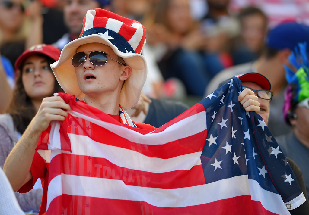. Many fans were dressed in their patriotic finest at the StubHub Center in Carson, CA on Sunday, February 8, 2015. US men\'s national team vs Panama in an international friendly soccer match. 1st half. (Photo by Scott Varley, Daily Breeze)