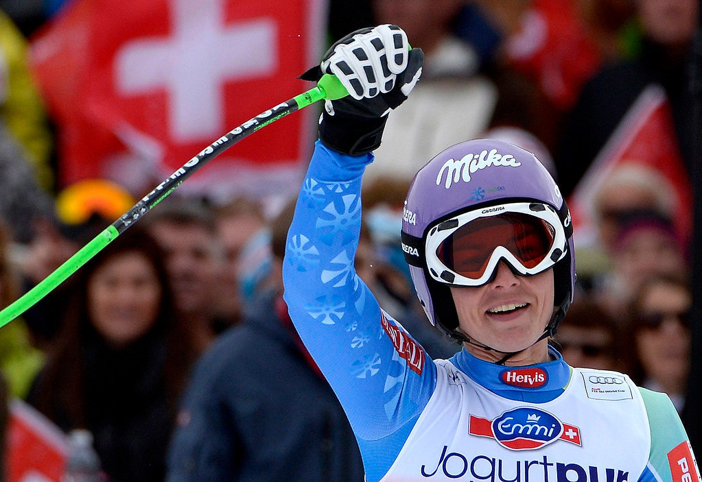. Tina Maze of Slovenia reacts in the finish area during the Women\'s Downhill race of the FIS Alpine Skiing World Cup  in Crans-Montana, Switzerland.  EPA/ALESSANDRO DELLA VALLE