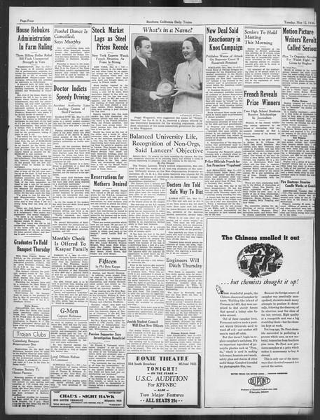 Daily Trojan, Vol. 27, No. 134, May 12, 1936