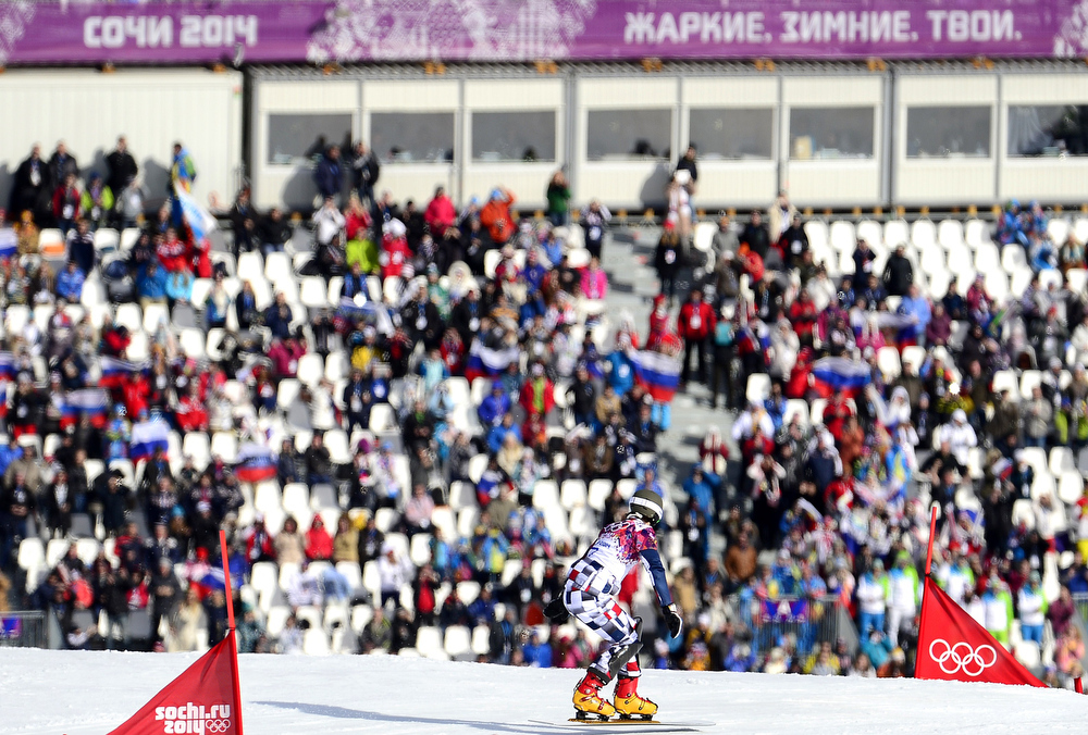 . Gold Medallist, Russia\'s Vic Wild competes in the Men\'s Snowboard Parallel Giant Slalom Final at the Rosa Khutor Extreme Park during the Sochi Winter Olympics on February 19, 2014.  JAVIER SORIANO/AFP/Getty Images