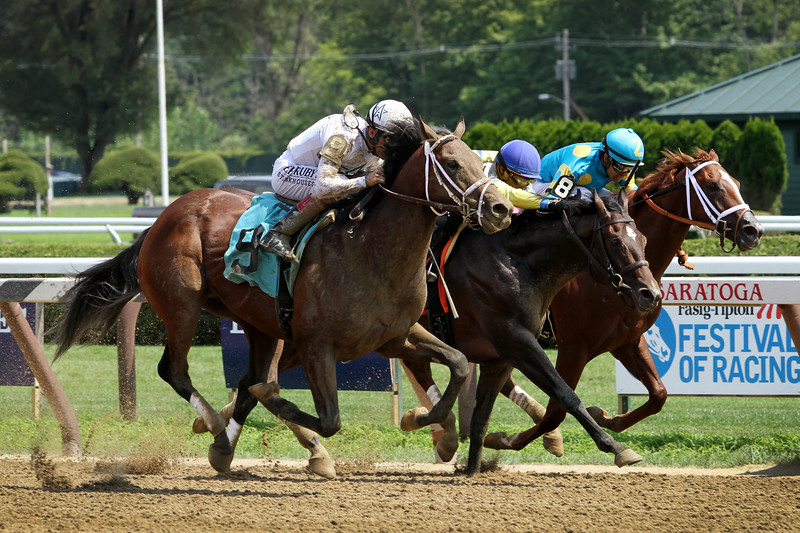 Glory Road (Commissioner) and jockey John Velazquez win a MSW at Saratoga Racecourse 8/3/19. Trainer: Todd Pletcher. Owner: WinStar Farm & China Horse Club International Ltd.