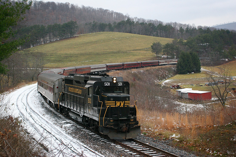 Diesel #501 leads a return trip past the Helmstetter farm Western Maryland Scenic Railroad