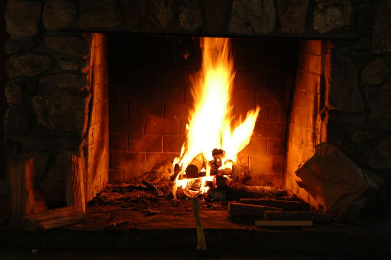 Roaring fire in the morning