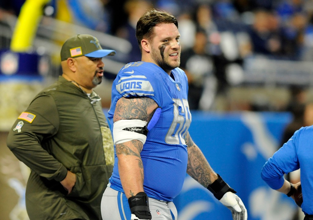. Detroit Lions offensive tackle Taylor Decker walks on the field during pregame of an NFL football game against the Cleveland Browns, Sunday, Nov. 12, 2017, in Detroit. (AP Photo/Jose Juarez)