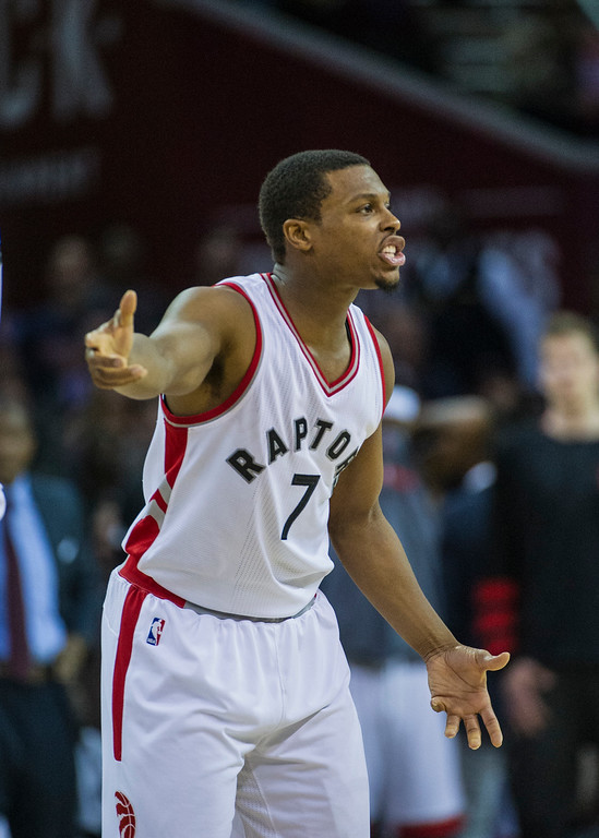 . Toronto Raptors\' Kyle Lowry (7) argues a call after being called for a technical foul during the second half of an NBA basketball game in Cleveland, Tuesday, Nov. 15, 2016. The Cavaliers won 121-117. (AP Photo/Phil Long)