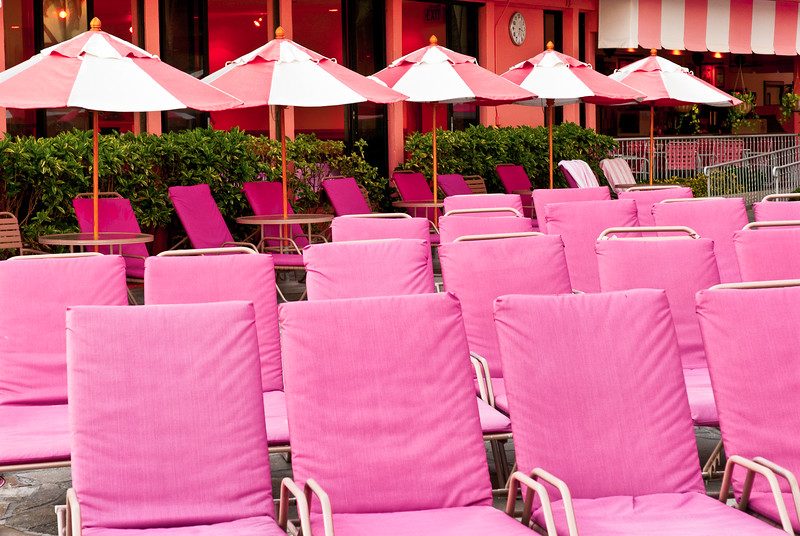 Pink Chairs at the Swimming Pool