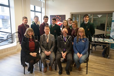 Pupils from St paul's HS Bessbrook and St Joseph's HS Newry are pictured with Mickey Ruane Chair NMDCC and Dermot Mathers at the Teenage Kicks Health Fayre in Newry Library. Also pictured are staff from Newry library Marie Gavin and Lilian Russell. R1610014