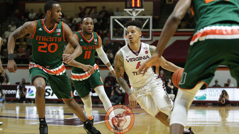 Seth Allen draws three Miami defenders on a run towards the basket. (Mark Umansky/TheKeyPlay.com)