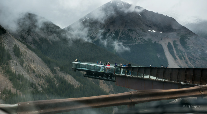 Glacier Skywalk north of the Columbia Icefield on the Icefield Parkway. This glass walkway is suspended nearly 1000 feet above a glacier.