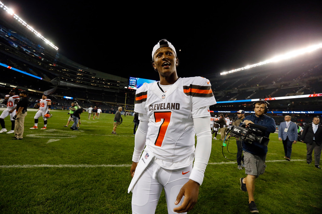. Cleveland Browns quarterback DeShone Kizer (7) after an NFL preseason football game against the Chicago Bears, Thursday, Aug. 31, 2017, in Chicago. The Browns won 25-0. (AP Photo/Charles Rex Arbogast)