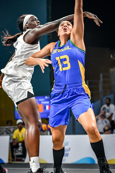France and Brasil in action in the semi-finals of the International 3x3 Basketball Tournament during the 1st ANOC World Beach Games at Katara on October 16, 2019 in Doha, Qatar. Photo by Tom Kirkwood/SportDXB