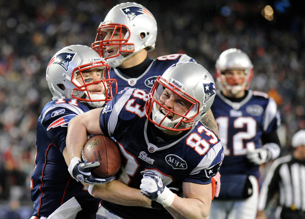 . New England Patriots wide receiver Wes Welker (83) after scoring the first touchdown of the game. Denver Broncos vs New England Patriots AFC Division Playoff game.  Saturday January 14, 2012 at Gillette Stadium.  Hyoung Chang, The Denver Post