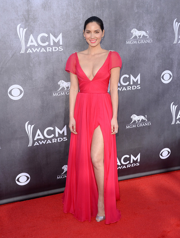 . Actress Olivia Munn attends the 49th Annual Academy Of Country Music Awards at the MGM Grand Garden Arena on April 6, 2014 in Las Vegas, Nevada.  (Photo by Jason Merritt/Getty Images)