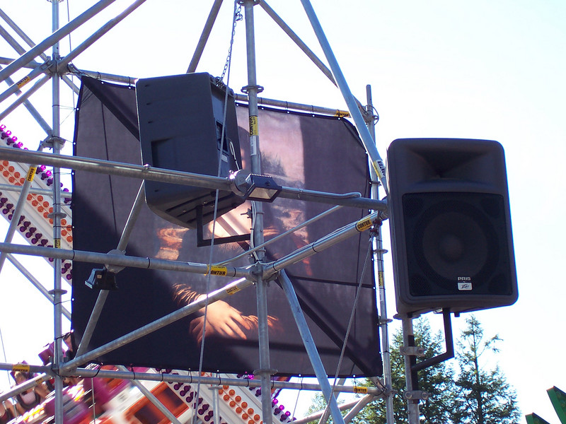 New techno speakers on the Xtreme Frisbee scaffold.