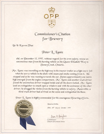 OPP Citation for Bravery for 1997 Rescue