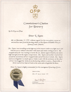 OPP Citation for Bravery for 1997 Rescue