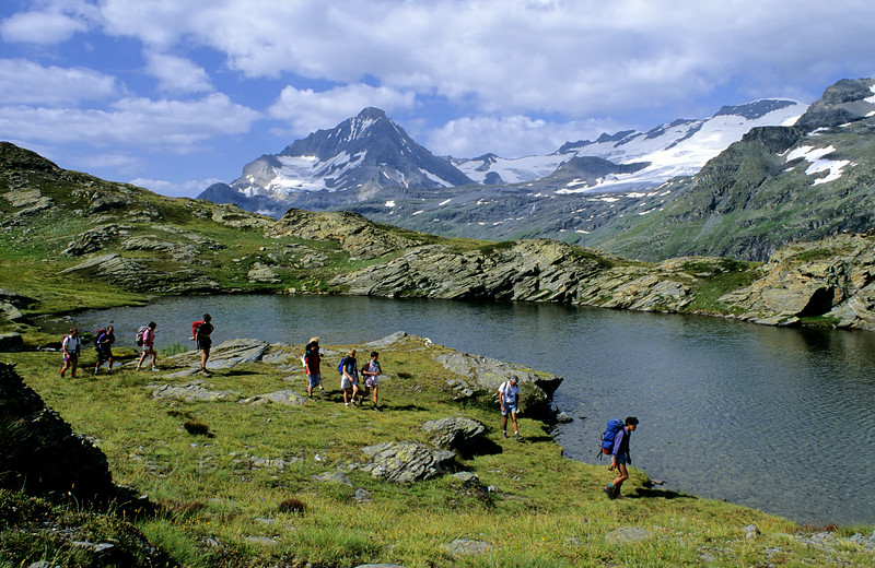 Lac Bellecombe and glaciers of the Vanoise.