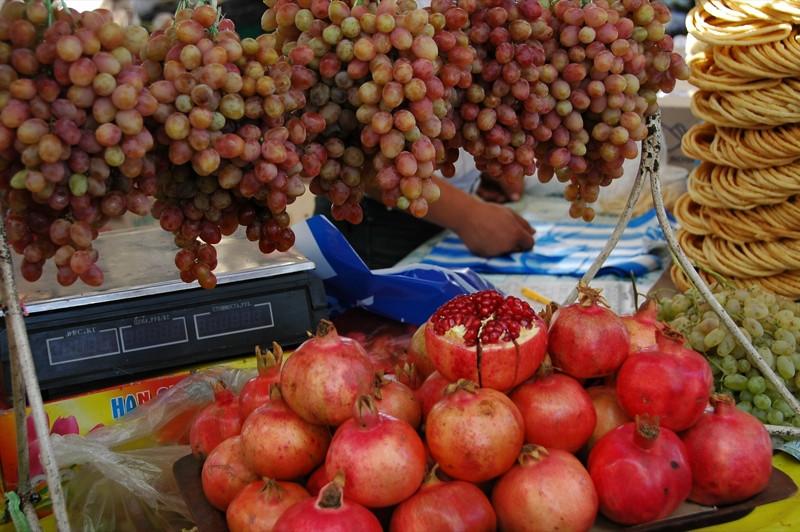 Pomegranates and Grapes, Osh Bazaar - Bishkek, Kyrgyzstan