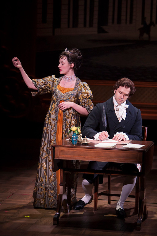 ". Trista Moldovan and Jeremiah James in the Denver Center Theatre Company\'s world premiere production of ""Sense & Sensibility The Musical.\""   Photo by Jennifer M. Koskinen"