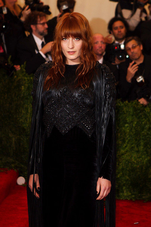 """. Singer Florence Welch arrives at the Metropolitan Museum of Art Costume Institute Benefit celebrating the opening of \""""PUNK: Chaos to Couture\"""" in New York, May 6, 2013. REUTERS/Lucas Jackson"""