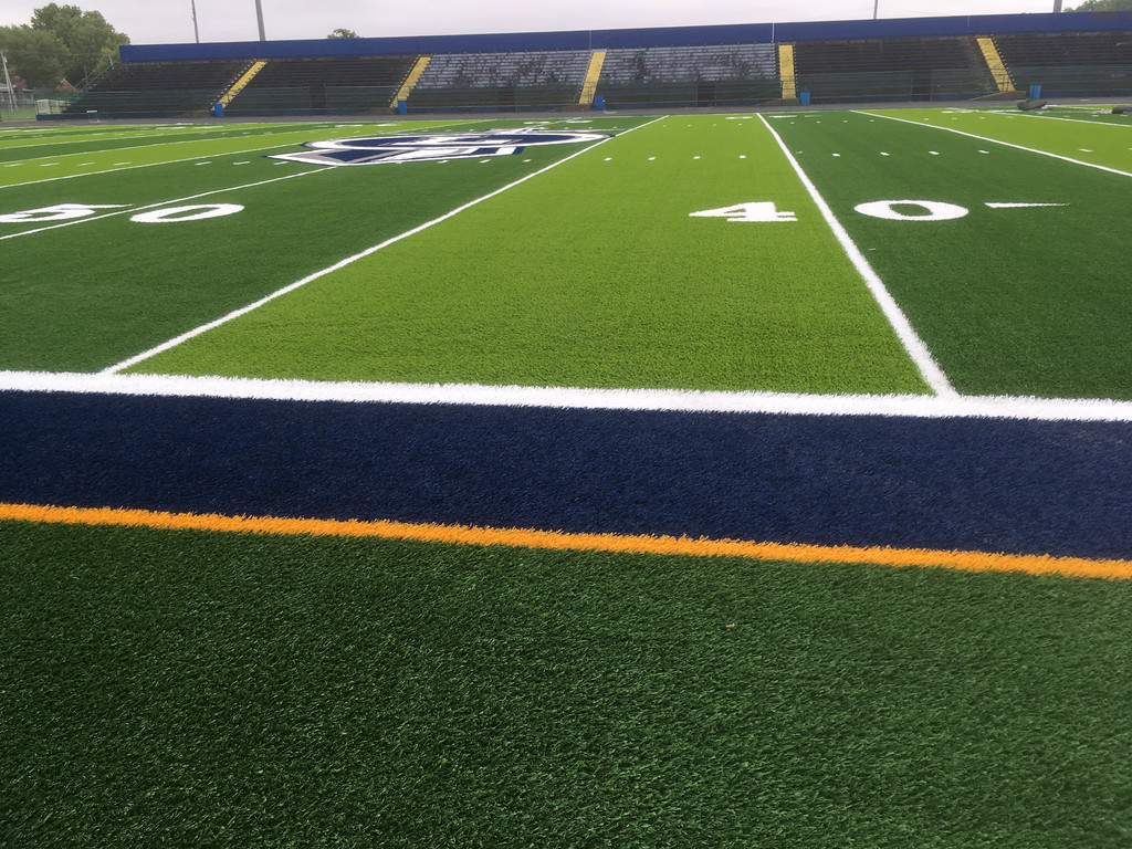 . Ground-level view of new artificial turf field of George Daniel Field. (Zach Srnis - The Morning Journal)