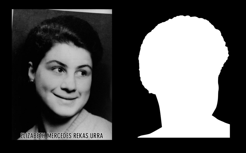 Detail: Profile and silhouette of Elizabeth Mercedes Rekas Urra.  Elizabeth Mercedes Rekas Urra was 27 years old when she was detained and disappeared by agents of the DINA (National Intelligence Directorate) on the 26th of May of 1976. * Shown here is the detail of the original photograph juxtaposed against its silhouette. (Courtesy Alfredo Jaar Studio) More information about Elizabeth Mercedes Rekas Urra can be found inside the archives of the Museo de Memoria y Derechos Humanos (Museum of Memory and Human Rights).  The information presented here and more can be found online: http://mujeresdevillagrimaldi.blogia.com/temas/elisabeth-mercedes-rekas-urra.php