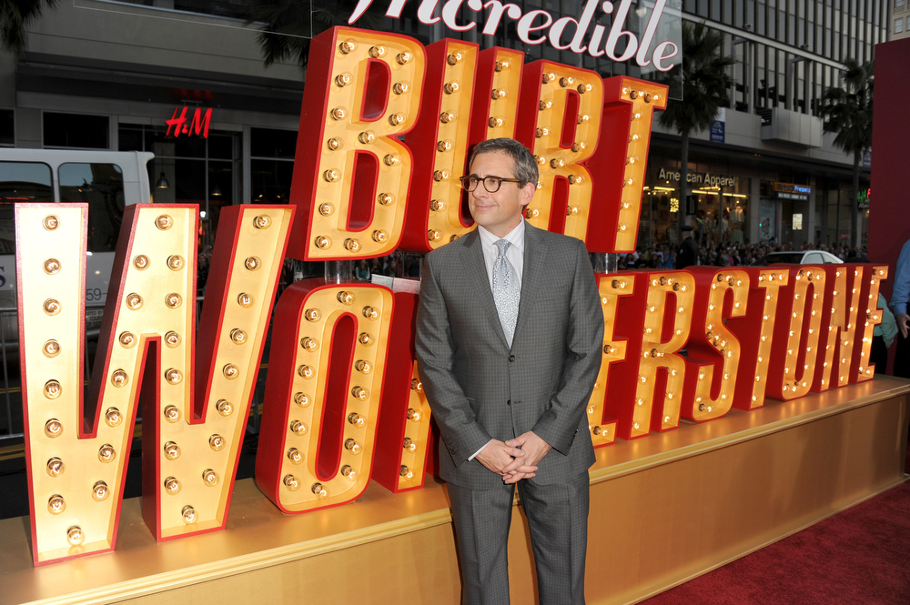 ". Actor Steve Carell attends the premiere of Warner Bros. Pictures\' ""The Incredible Burt Wonderstone\"" at TCL Chinese Theatre on March 11, 2013 in Hollywood, California.  (Photo by Kevin Winter/Getty Images)"