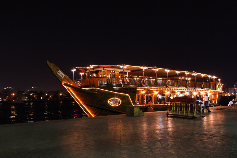 A dinner cruise waits for passengers along the Dhow wharves.