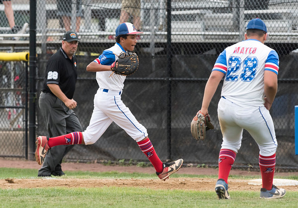 08/06/19 Wesley Bunnell | Staff New Jersey defeated Maryland in a Mid-Atlantic Little League tournament game on Tuesday afternoon at Breen Field in Bristol. First baseman Jayden Capindica (8) with the unassisted out at first base.
