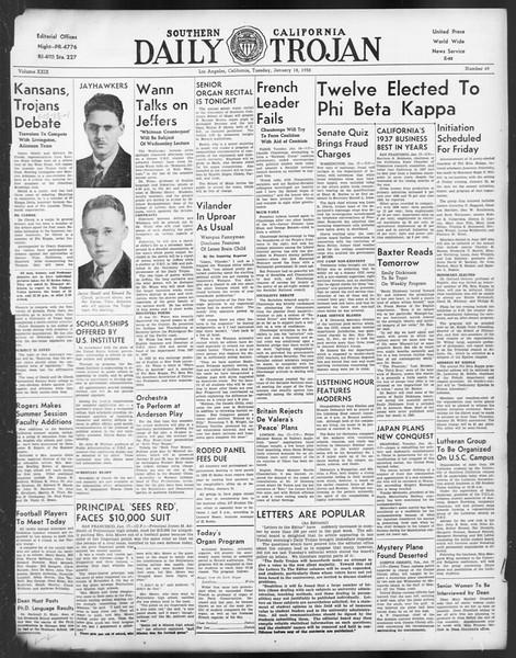 Daily Trojan, Vol. 29, No. 69, January 18, 1938