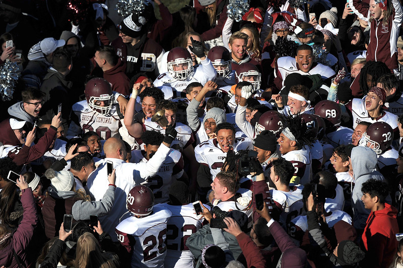 11/23/2017 Mike Orazzi | Staff Bristol Central after a win over town rival Bristol Eastern during the annual Battle For The Bell at Muzzy Field Thursday.