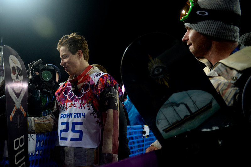 . Two-time defending gold medalist Shaun White reacts to finishing fourth in the men\'s snowboard halfpipe final. Sochi 2014 Winter Olympics on Tuesday, February 11, 2014. (Photo by AAron Ontiveroz/The Denver Post)
