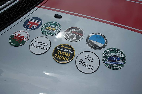 Jonathan's magnetic grille badge collection.