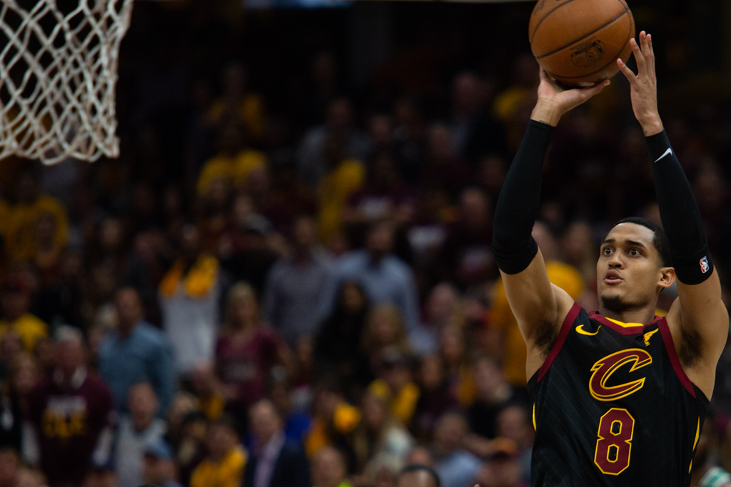 . Michael Johnson - The News-Herald Cleveland\'s Jordan Clarkson takes a shot during game 3 of the Eastern Conference finals against Boston on May 19, 2018.