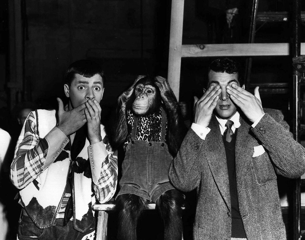 . Actors from left, Jerry Lewis, Pierre, and Dean Martin, clown for the camera July 13, 1950 in a Hollywood press agent\'s version of an old Chines proverb. (AP photo)