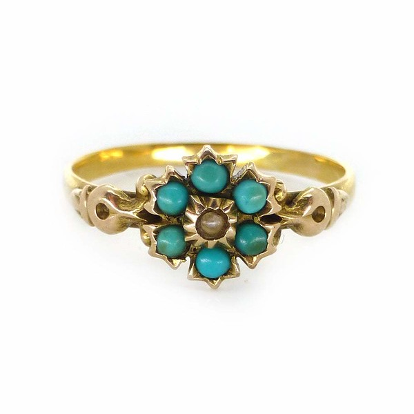 Antique Victorian 15ct Gold Forget Me Not Turquoise & Pearl Flower Ring