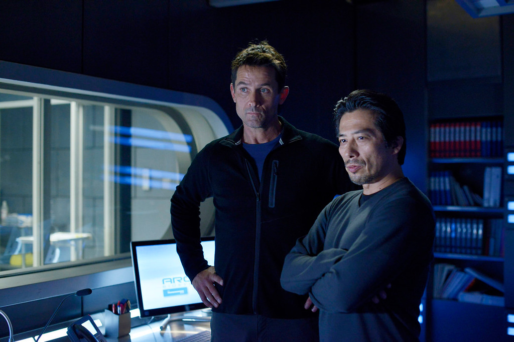 """. Billy Campbell, left, as Dr. Alan Farragut and Hiroyuki Sanada as Dr. Hiroshi Hataki in \""""Helix.\"""" The new thriller premiers Jan. 10 with back-to-back episodes on SyFy. (Photo by: Philippe Bosse/Syfy)"""