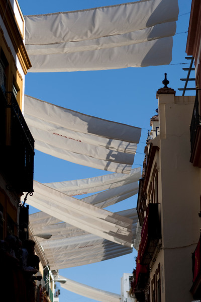 Canopies for shading the streets during summertime, Seville, Spain