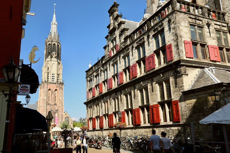14th century Nieuwe Kerk (New Church) at the other end of Markt (Market Square) - Delft