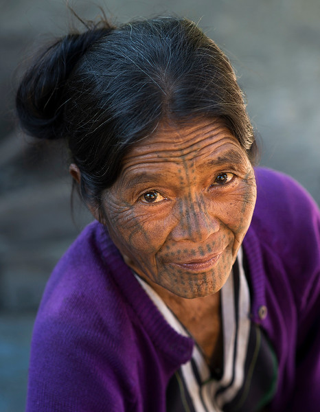 Tam Hlen a 60 year old woman from the Muun tribe.  Chin State, Myanmar