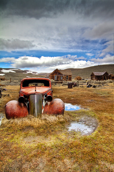 Rusted car after a storm