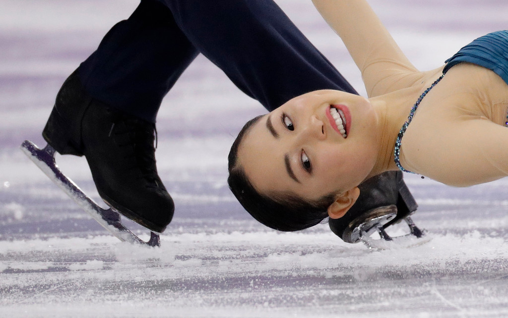 . Miu Suzaki and Ryuichi Kihara of Japan perform in the pair figure skating short program in the Gangneung Ice Arena at the 2018 Winter Olympics in Gangneung, South Korea, Wednesday, Feb. 14, 2018. (AP Photo/David J. Phillip)
