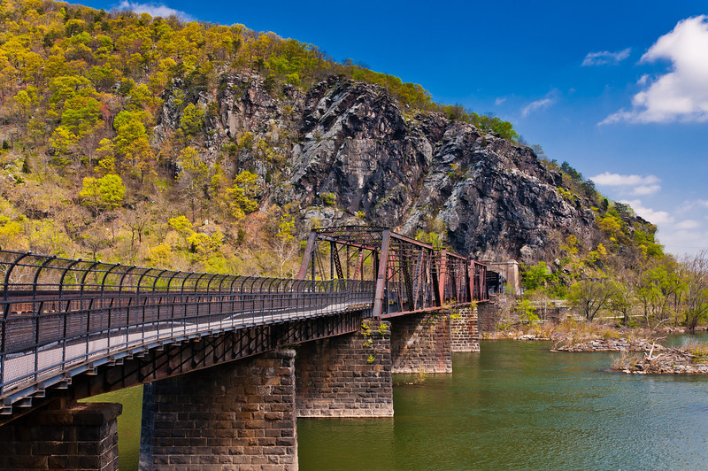 View of Railroad/ Pedestrian Bridge and Maryland Heights, Harper's Ferry, West Virginia