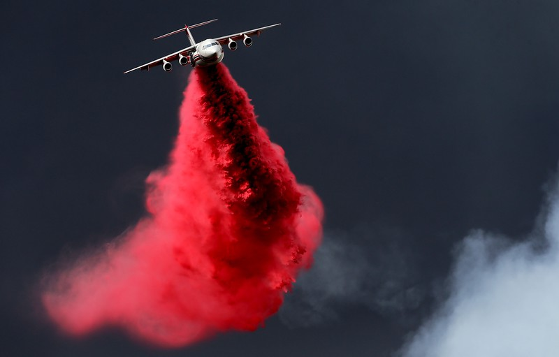 An air tanker makes a retardant drop on the Valley fire as it burns in the San Bernardino National Forest above Forest Falls on Friday, July 6, 2018. (Photo by Terry Pierson, The Press-Enterprise/SCNG)