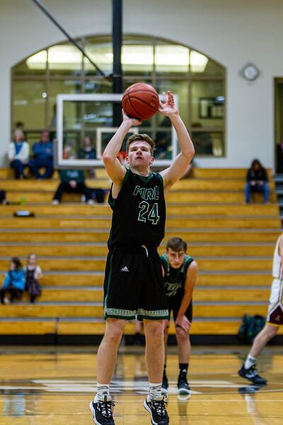 Holy Family Varsity Boys Basketball vs. Jordan, 1/23/20: Jacob Warmka '21 (24)