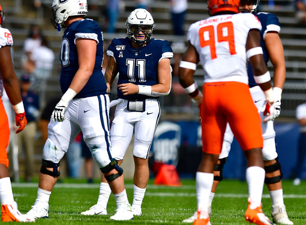 9/7/2019 Mike Orazzi | StaffrUConn's Jack Zergiotis (11) during Saturday's football game with the University of Illinois at Rentschler Field in East Hartford.r