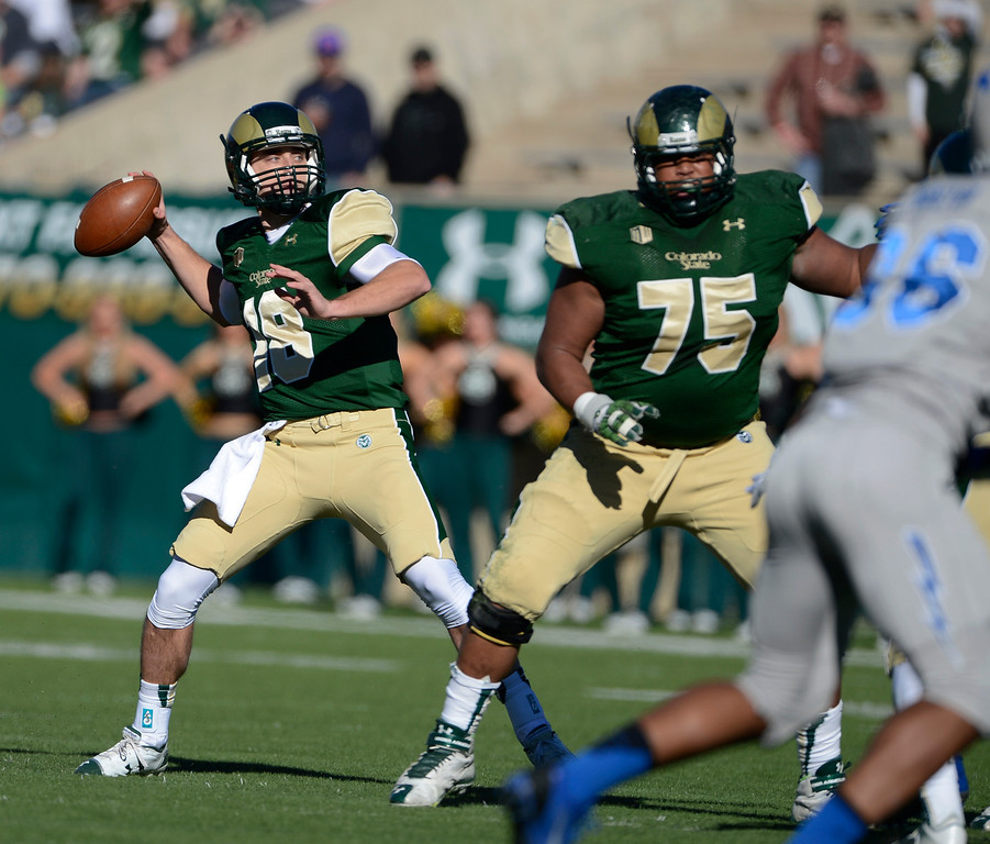 . Colorado State QB, Garrett Grayson, against Air Force at Hughes Stadium Saturday afternoon, November 30, 2013. The Rams won 58-13. (Photo By Andy Cross/The Denver Post)