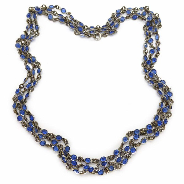 Antique Art Deco Long Blue Glass Bezel Set Watch Chain Necklace
