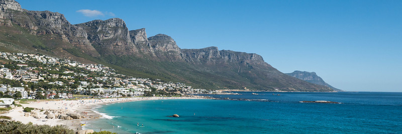 The 12 Apostles in Cape Town peninsula and the pretty beaches along the coast.