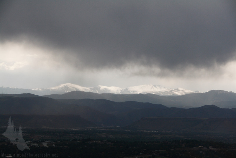 Looking at Mt. Evans from over Denver